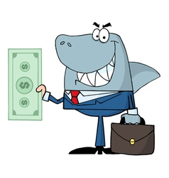 smiled business shark holding cash vector image vector image