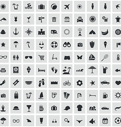 100 beach icons vector image