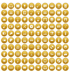 100 karaoke icons set gold vector