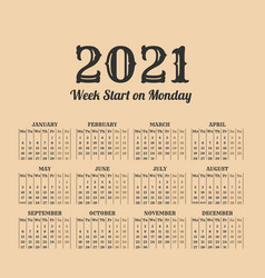 2021 year vintage calendar weeks start on monday vector