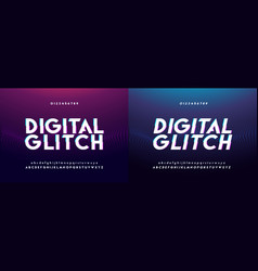 abstract glitch digital alphabet font and number vector image