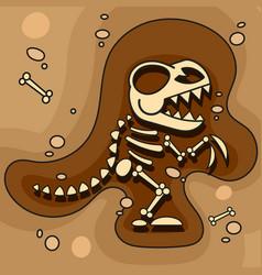 Archeology dinosaur skeleton in ground vector