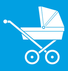 baby carriage icon white vector image