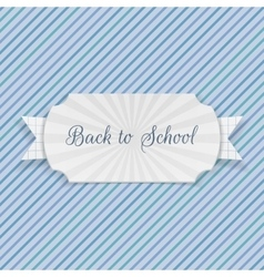 Back to school text on emblem with ribbon vector