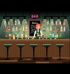 Bar counter with bartender lady vector