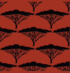 beautiful hand-drawn african tree seamless pattern vector image