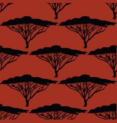Beautiful hand-drawn african tree seamless pattern vector