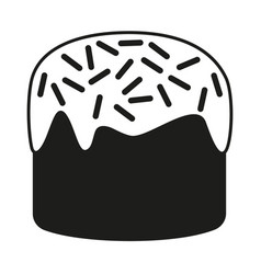 Black and white traditional easter cake silhouette vector