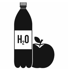 Bottle of water and red apple icon simple style vector image