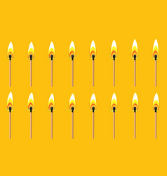 Burning match animation sprite yellow back ground vector