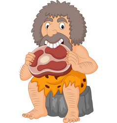 Cartoon caveman eating meat vector