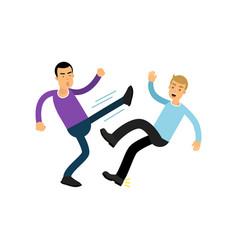 cartoon flat irate man character in high kick pose vector image