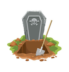 cemetery digged grave hole vector image
