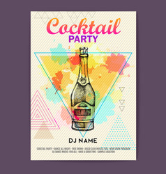 Champagne bottle on watercolor background vector