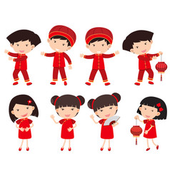 chinese boys and girls in red outfit vector image