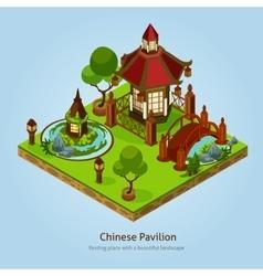 Chinese pavilion landscape design concept vector
