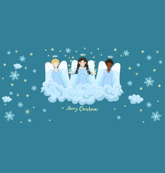 Chorus angels on a cloud stars and snowflakes vector