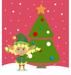 christmas tree and elf winter holiday celebration vector image