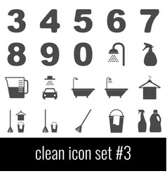 clean icon set 3 gray icons on white background vector image
