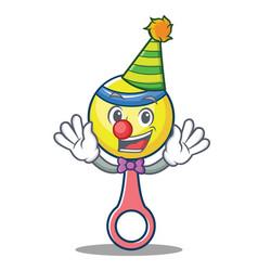 clown rattle toy mascot cartoon vector image