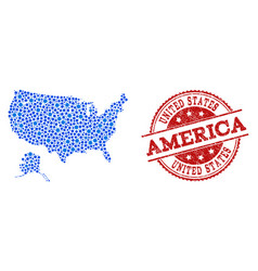 collage map of usa and alaska with linked circles vector image