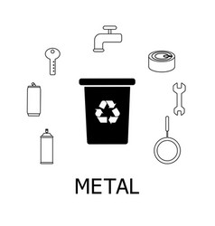collection of black and white icons of metal waste vector image