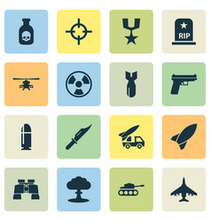 Combat icons set collection of cutter missile vector