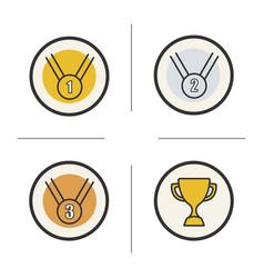 competition rewards color icons set vector image