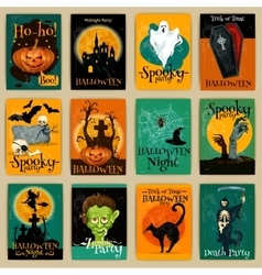 Complete set retro posters for halloween party vector