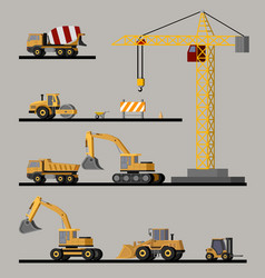 Construction vehicles collection vector