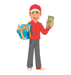 Courier man in red uniform handsome delivery man vector