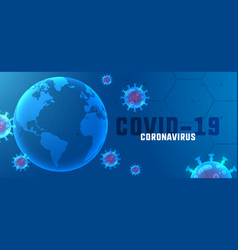 Covid19 coronavirus outbreak banner with floating vector