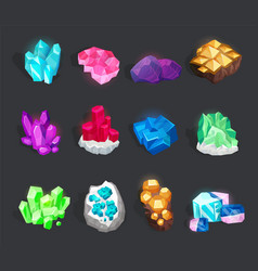 Crystals and minerals set isolated from background vector