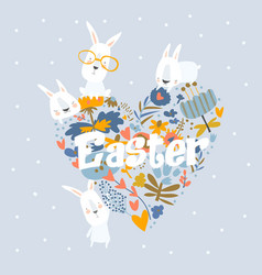 Cute cartoon bunny with flowers happy easter vector