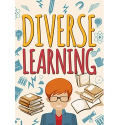 Diverse learning poster with student and books vector image