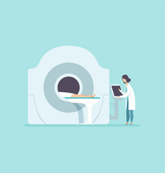 doctor scanning patient with scanner machine mri vector image