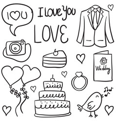 Doodle of wedding object style vector