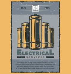 Electrical service retro card of electric supplies vector