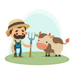 Farmer with cow vector