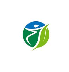 Fitness sport healthy green logo vector