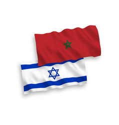 Flags morocco and israel on a white background vector