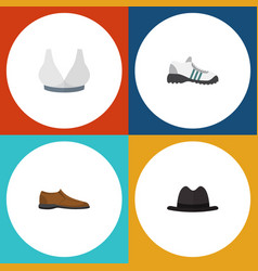 flat icon clothes set of panama sneakers vector image