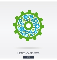 Flat icons in a cogwheel shape medical health vector