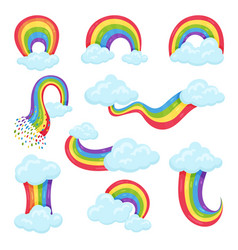 flat set of multicolored rainbows with blue vector image