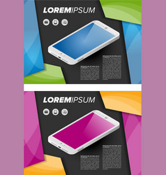 Flayer template with isometric mobile phone vector