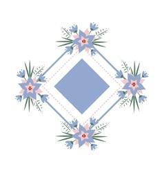 Floral vignette in form a rhombus vector