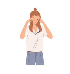 Focused pensive person thinking with fingers vector