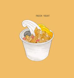 Frozen yogurt sketch vector