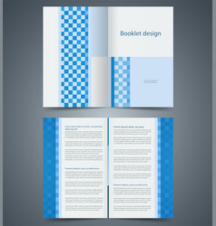 Geometric blue bifold brochure template design vector