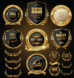Gold and black sale shields laurel wreaths and vector